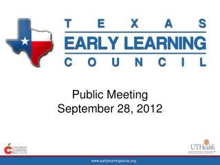 Public Meeting  September 28, 2012