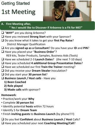 "First Meeting after,             "" Yes I would like to Discover if Arbonne is a Fit for ME!"""