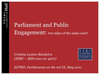 Parliament and Public Engagement:  two sides of the same coin?