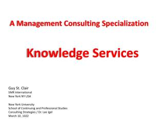 A Management  Consulting  Specialization