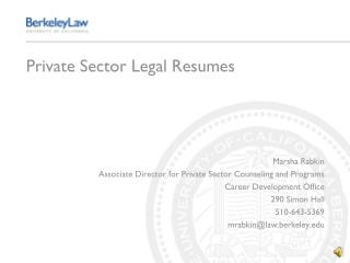 Private Sector Legal Resumes