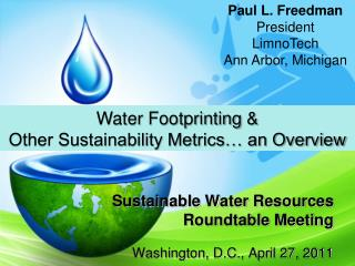 Sustainable Water Resources Roundtable Meeting