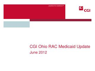 CGI Ohio RAC Medicaid Update