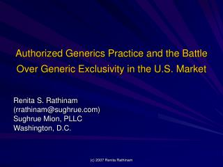 authorized generics practice and the battle over generic exclusivity in the u.s. market