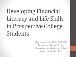Developing Financial Literacy and Life Skills in Prospective College Students