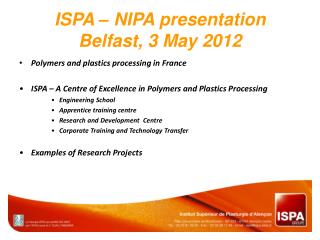 ISPA – NIPA  presentation Belfast, 3 May 2012