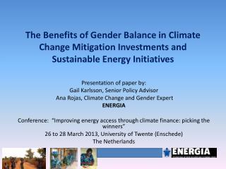 The Benefits of Gender Balance in Climate Change Mitigation Investments and Sustainable Energy Initiatives