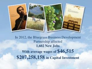 In 2012, the Bluegrass Business Development Partnership affected 1,602 New Jobs With average wages of  $46,515 $207,258