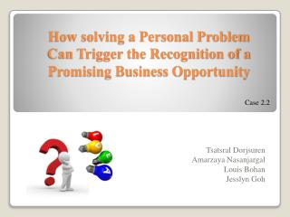 How solving a Personal Problem Can Trigger the Recognition of a Promising Business Opportunity