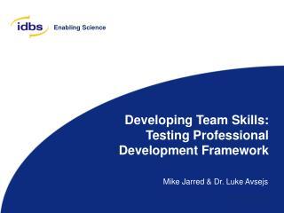 Developing Team Skills: Testing Professional Development Framework