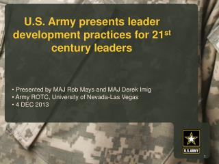 U.S. Army presents leader development practices for 21 st  century leaders
