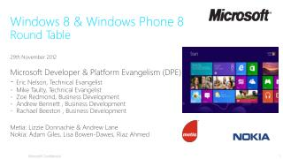 Agenda 16:00  – 16:10 Welcome & Windows 8/Phone High Level  Vision 16:10 – 16:40 Windows 8  Overview/Demo