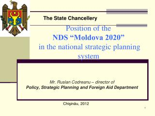 "Position of the                            NDS ""Moldova 2020""  in the national strategic planning system"