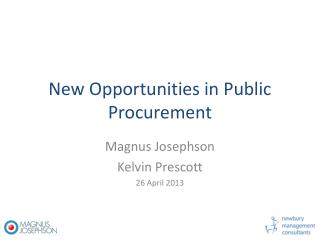 New Opportunities in Public Procurement