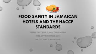 Food Safety in Jamaican Hotels and the HACCP Standards