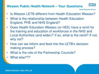 Wessex Public Health Network – Your Questions