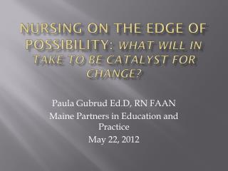Nursing on the Edge of Possibility:  What will in take to be catalyst for change?
