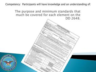 Competency:  Participants will have knowledge and an understanding of: