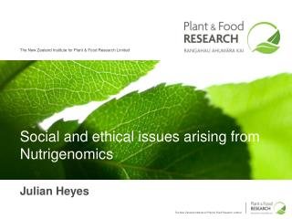 social and ethical issues arising from nutrigenomics