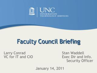 Faculty Council Briefing
