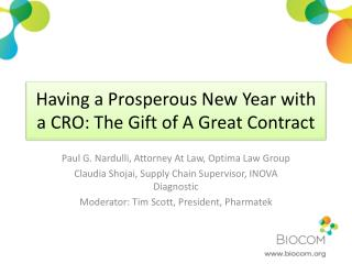 Having a Prosperous New Year with a CRO: The Gift of A Great Contract