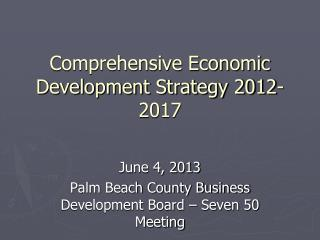 Comprehensive Economic Development Strategy 2012-2017