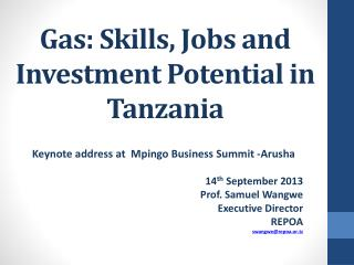 Gas: Skills, Jobs and Investment Potential in Tanzania