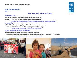 Supporting  Resilience in Iraq Key  Refugee Profile in  Iraq Women and Girls  Around 33% women and girls at reproductiv