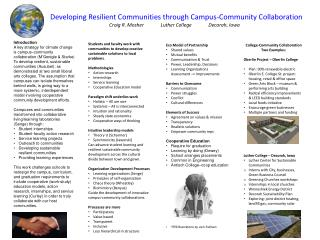 Developing  Resilient Communities through  Campus-Community  Collaboration Craig R. Mosher   Luther College   Decorah