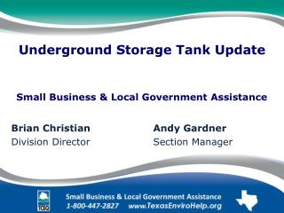 Underground Storage Tank Update Small Business & Local Government Assistance