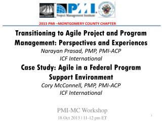 PMI-MC Workshop 18 Oct 2013 | 11-12 pm ET
