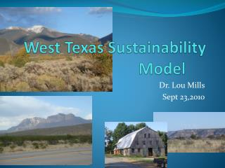 West Texas Sustainability Model
