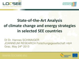 S tate-of-the-Art Analysis  of climate change and energy strategies in selected SEE countries