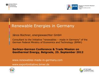 Renewable Energies in Germany
