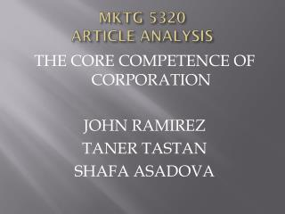 MKTG 5320  ARTICLE ANALYSIS