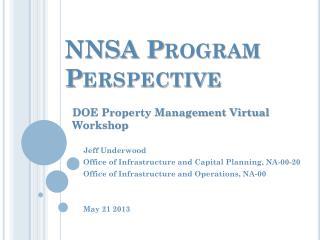 NNSA Program Perspective