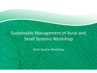 Sustainable Management of Rural and Small Systems Workshop Multi System Workshop
