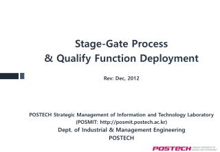 Stage-Gate Process & Qualify Function Deployment