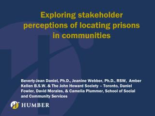 Exploring stakeholder perceptions of locating prisons in communities