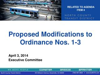 Proposed Modifications to Ordinance Nos. 1-3