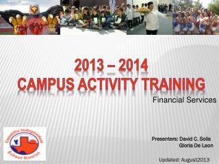 2013 – 2014 Campus activity Training