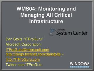 WMS04: Monitoring and Managing All Critical Infrastructure