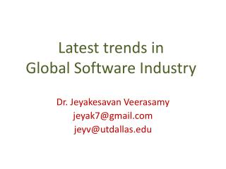 Latest trends in  Global Software Industry
