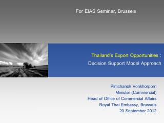Thailand's Export Opportunities  :  Decision Support Model Approach