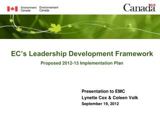 EC�s Leadership Development Framework Proposed 2012-13 Implementation Plan
