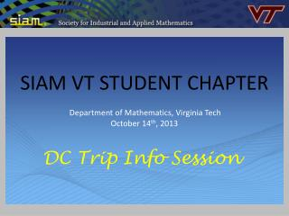 SIAM VT STUDENT CHAPTER