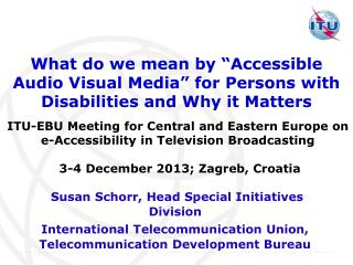 "What  do we mean by ""Accessible Audio Visual Media"" for Persons with Disabilities and Why it  Matters"