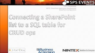 Connecting a SharePoint list to a SQL table for CRUD ops