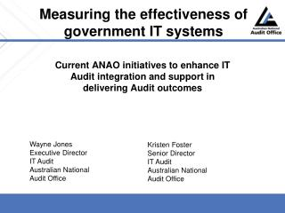 Measuring the effectiveness of government IT systems