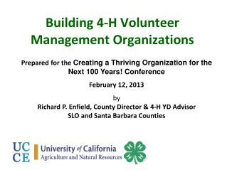 Building 4-H Volunteer Management Organizations